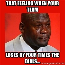 crying michael jordan - That feeling when your team Loses by four times the dials...