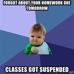 Success Kid - forgot about your homework due tomorrow classes got suspended