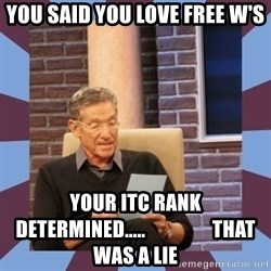 maury povich lol - You Said you love free W's Your itc rank determined.....                 that was a liE