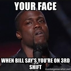 Kevin Hart Face - Your face when Bill say's you're on 3rd shift