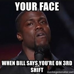 Kevin Hart Face - Your face when bill says you're on 3rd shift