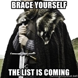 Ned Game Of Thrones - brace yourself the list is coming