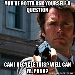 Dirty Harry - You've gotta ask yourself a question Can i recycle this? Well can ya, punk?