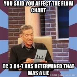 maury povich lol - You said you affect the flow chart TC 3.04-7 has determined that was a lie