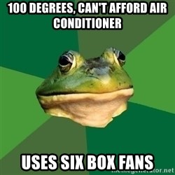 Foul Bachelor Frog - 100 DEGREES, CAN'T AFFORD AIR CONDITIONER USES SIX BOX FANS