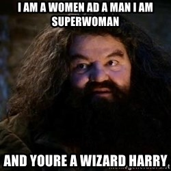 Yer A Wizard Harry Hagrid - i am a women ad a man i am superwoman and youre a wizard harry