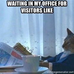newspaper cat realization - Waiting in my office for visitors like