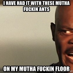 Snakes on a plane Samuel L Jackson - I have had it with these mutha fuckin ants On my mutha fuckin floor