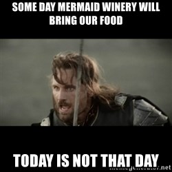 But it is not this Day ARAGORN - Some day mermaid winery will bring our food  Today is not that day
