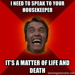 Angry Arnold - I NEED TO SPEAK TO YOUR HOUSEKEEPER IT'S A MATTER OF LIFE AND DEATH