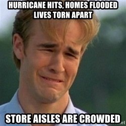 Crying Dawson - Hurricane hits, homes flooded lives torn apart Store aisles are crowded