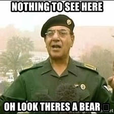 Baghdad Bob - Nothing to see here Oh look theres a bear 🐻