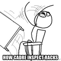 Flip table meme - how cadre inspect racks