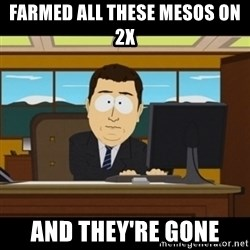 and they're gone - farmed all these mesos on 2x and they're gone