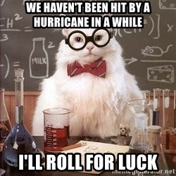 Chemistry Cat - We haven't been hit by a hurricane in a while i'll roll for luck