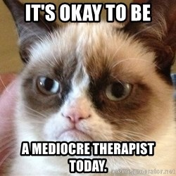 Angry Cat Meme - It's okay to be a mediocre therapist today.