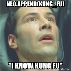 """i know kung fu - neo.append(kung_Fu) """"I Know Kung Fu"""""""