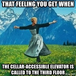 Look at all the things - That feeling you get when  the cellar-accessible elevator is called to the third floor