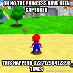 Mario looking at castle - oh no the princess have been captured this happend 02371298472398 times