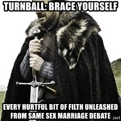 Brace Yourself Meme - turnball: brace yourself every hurtful bit of filth unleashed from same sex marriage debate