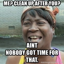 Ain`t nobody got time fot dat - Me? Clean up after you? Aint                                          nobody got time for that.