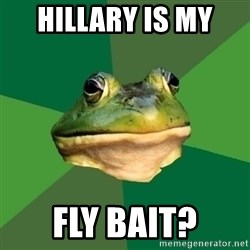 Foul Bachelor Frog - HILLARY IS MY  FLY BAIT?