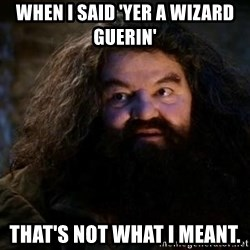 Yer A Wizard Harry Hagrid - When I said 'yer a wizard Guerin' that's not what i meant.