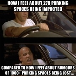 Vin Diesel Car - how i feel about 279 parking spaces being impacted compared to how i feel about rumours of 1000+ parking spaces being lost