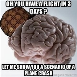 Scumbag Brain - oh you have a flight in 3 days ? let me show you a scenario of a plane crash