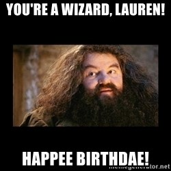 You're a Wizard Harry - you're a wizard, lauren! happee birthdae!