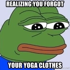 Sad Frog Color - Realizing you forgot your yoga clothes