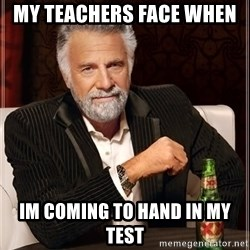 The Most Interesting Man In The World - my TEachers face when  im coming to hand in my test