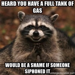 evil raccoon - Heard you have a full tank of gas Would be a sHame if someone siphoned It
