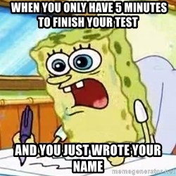 Spongebob What I Learned In Boating School Is - when you only have 5 minutes to finish your test and you just wrote your name