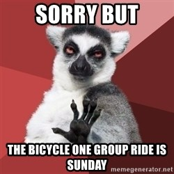 Chill Out Lemur - sorry but the bicycle one group ride is sunday