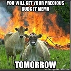 Evil Cows - You will get your precious budget memo tomorrow