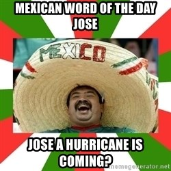 Sombrero Mexican - Mexican word of the day jose Jose a hurricane is coming?