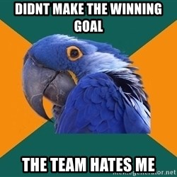 Paranoid Parrot - Didnt make the winning goal The team hates me