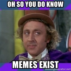 Sarcastic Wonka - Oh so you do know Memes exist