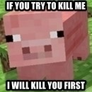 Minecraft PIG - if you try to kill me i will kill you first
