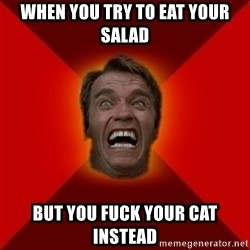 Angry Arnold - when you try to eat your salad  but you fuck your cat instead