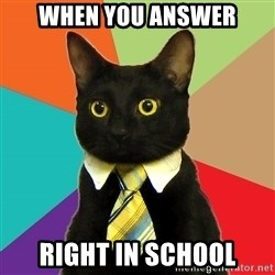 Business Cat - when you answer right in school