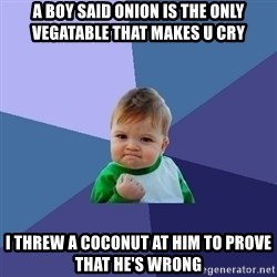 Success Kid - A boy said onion is the only vegatable that makes u cry I threw a coconut at him to prove that he's wrong