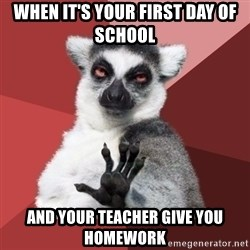 Chill Out Lemur - when it'S your first day of school and your teacher give you homework
