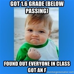 yes baby 2 - Got 1.6 grade (below passing) Found out everyone in class got an f