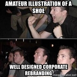 Reaction Guys - Amateur illustration of a shoe well designed corporate rebranding
