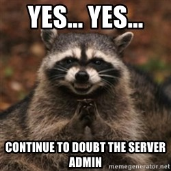 evil raccoon - Yes... yes... Continue to doubt the server admin