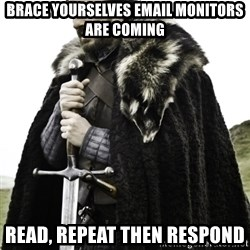 Ned Game Of Thrones - Brace yourselves email monitors are coming Read, Repeat then Respond