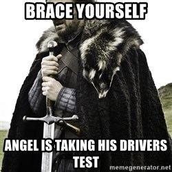 Ned Stark - Brace yourself Angel is taking his drivers test