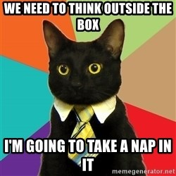 Business Cat - We need to think outside the box I'm going to take a nap in it